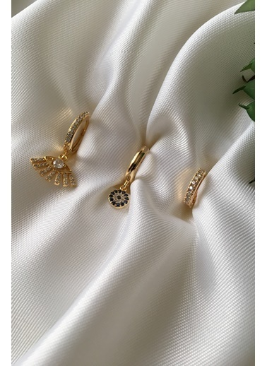 My Joyas Design Kirpik Göz & Nazarlı 3'lü Küpe Seti Altın